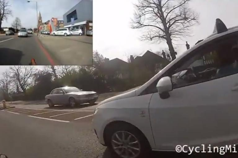 Bromley Common overtake video still (CyclingMikey on YouTube)