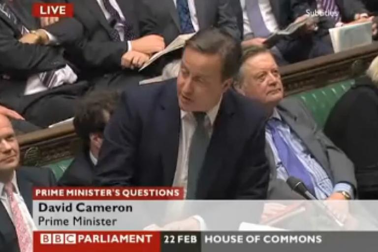 Cameron at PMQs (BBC)