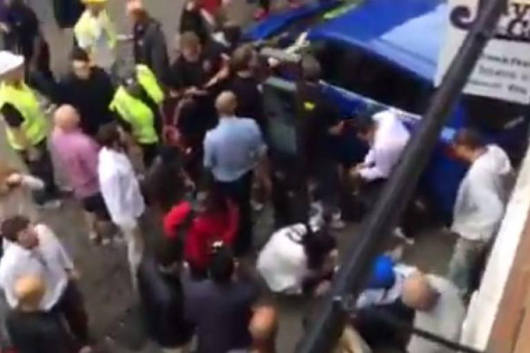 Car lifted off Oxford cyc;ist - video still by Mehmet Yildirim