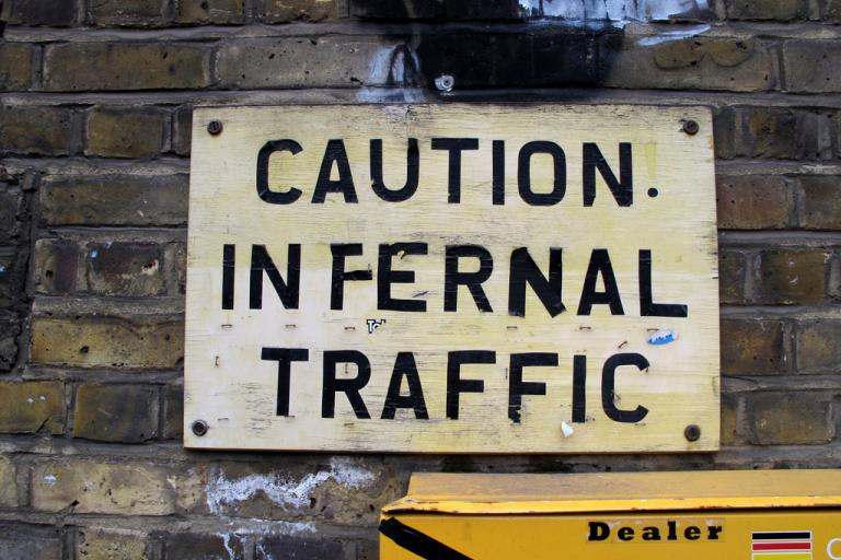 Caution infernal traffic (CC BY-NC 2.0 licensed by duncan c:Flickr)