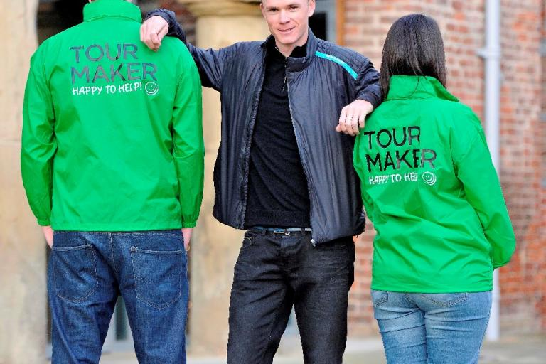 Chris Froome and Tour Makers (image via Welcome to Yorkshire)