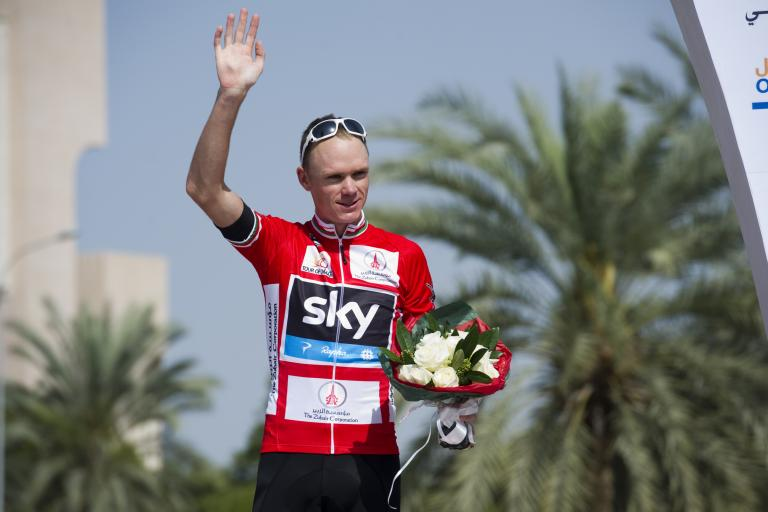 Chris Froome on Tour of Oman 2013 podium (copyright Lloyd Images, Muscat Municipality)