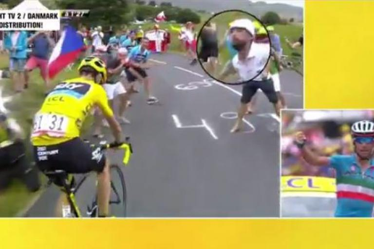 Chris Froome spat at, Tour de France 2015 Stage 19 (picture TV2 Danmark)
