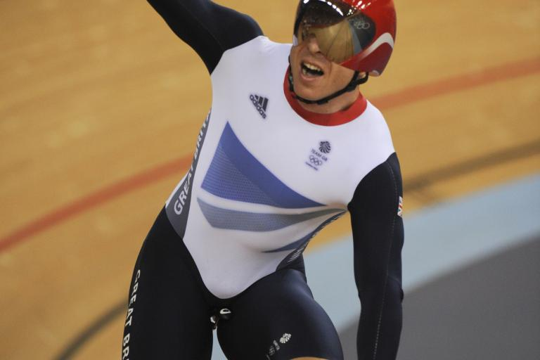 Chris Hoy after winning the keirin at London 2012 (copyright Britishcycling.org.uk)