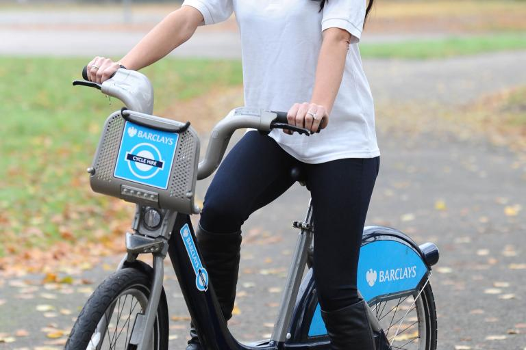 Christine Bleakley on Barclays Cycle Hire bike