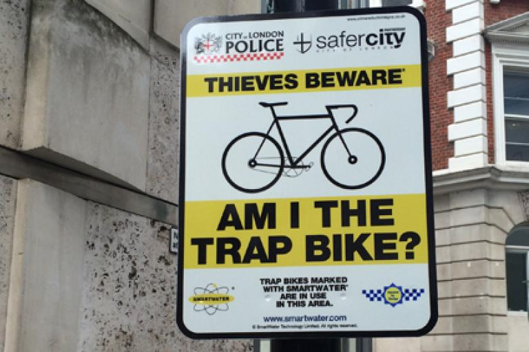City of London  road sign BIKE THIEVES