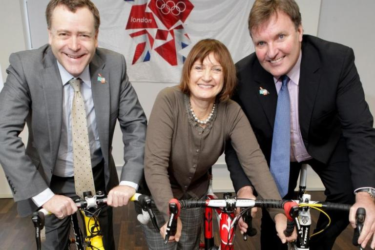 Councillor Peter John, leader of Southwark Council, Tessa Jowell MP, and Tony Doyle MBE
