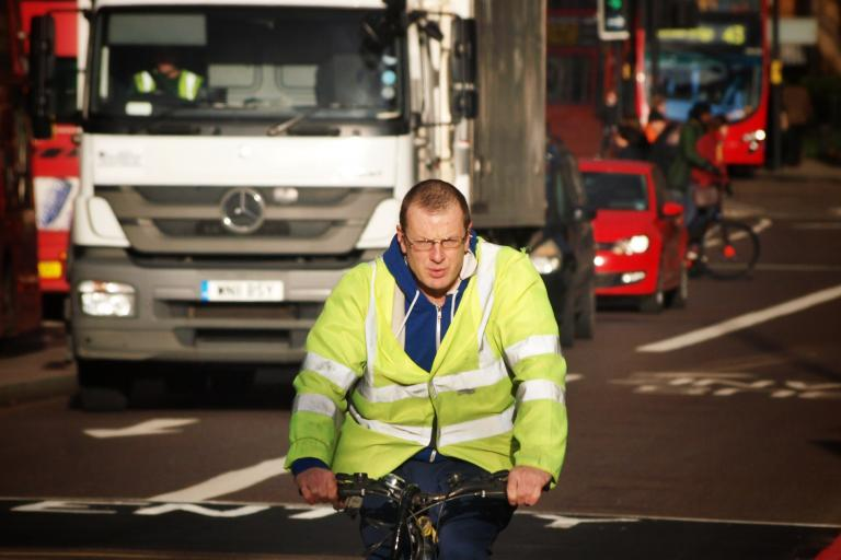 Cyclist and lorry (copyright Simon MacMichael)