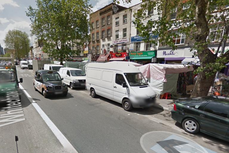 Cyclists will mix with busses past Whitechapel Market (Google Streetview).png