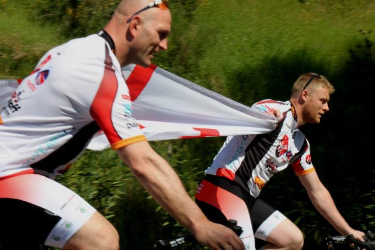 Dallaglio and Flintoff Cycle Slam 2012 (pic Amazon Creek, Facebook)