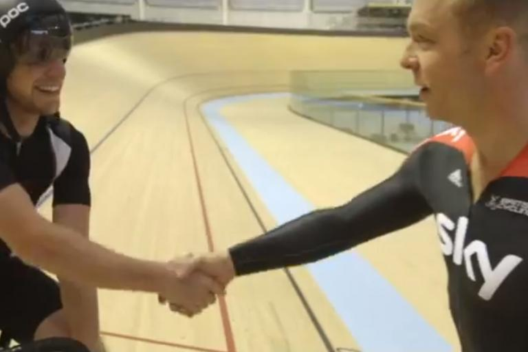 Danny MacAskill and sir Chris Hoy (Glasgow 2014 YouTube still)