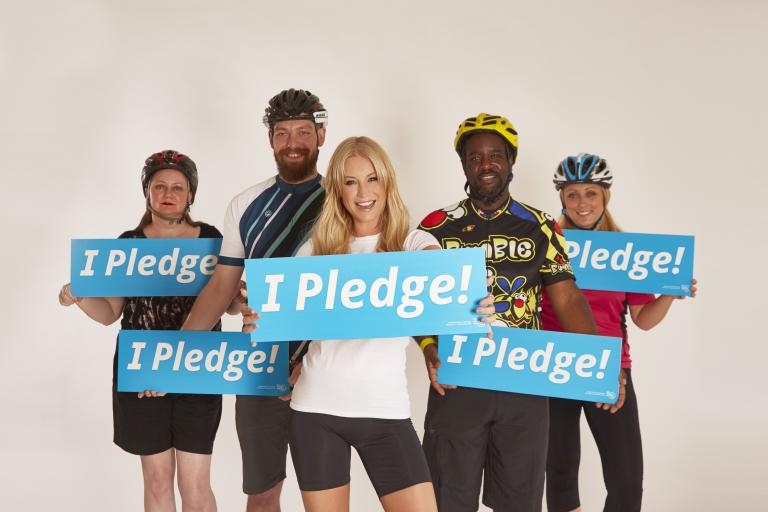 Denise Van Outen and fellow cyclists pledge to Cycle to Work Day 2015 (picture credit Karis Kennedy)