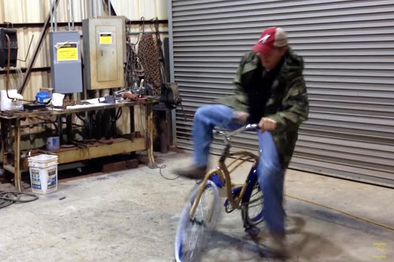 Destin Sandler battles with the reverse-steering bike
