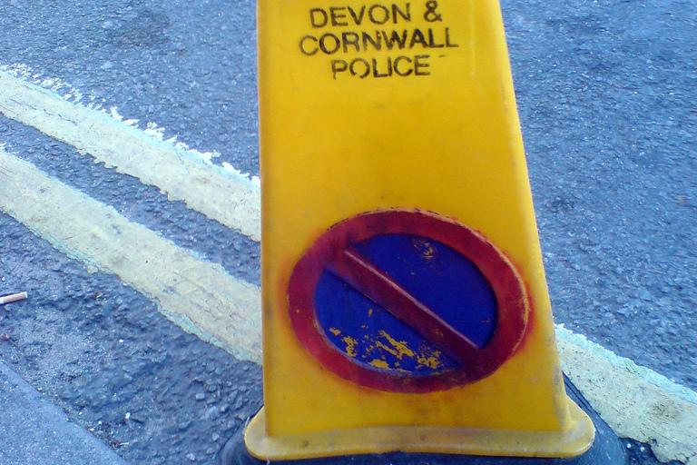 Devon and Cornwall police cone (copyright Flickr user roogi)