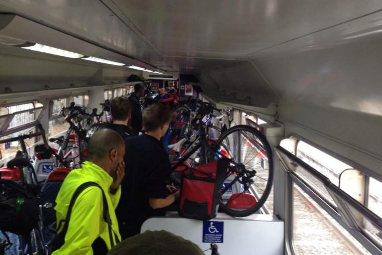 Dunwich Dynamo bikes on train