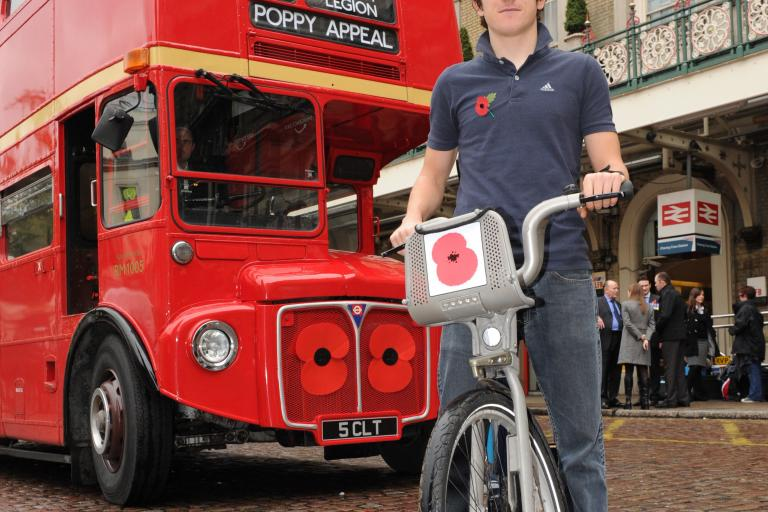 Geraint Thomas on Poppy Bike