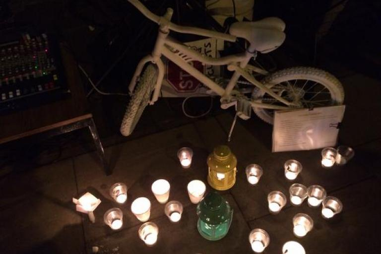 Ghost bike at vigil for Akis Kollaros (©Tom Kearney)