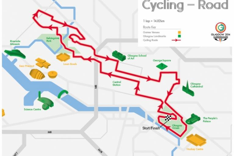 Glasgow 2014 road race route (image via www.glasgow2014.com)