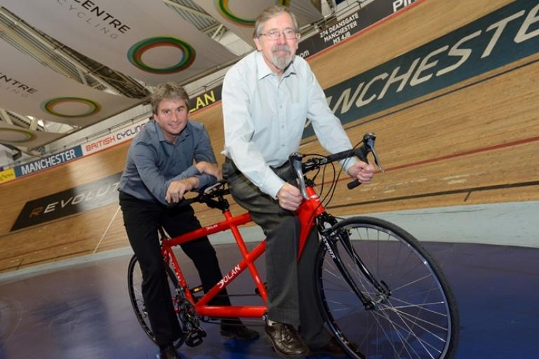 Greater Manchester Cycling Partnership launch (Councillor Fender and British Cycling's Ian Drake)
