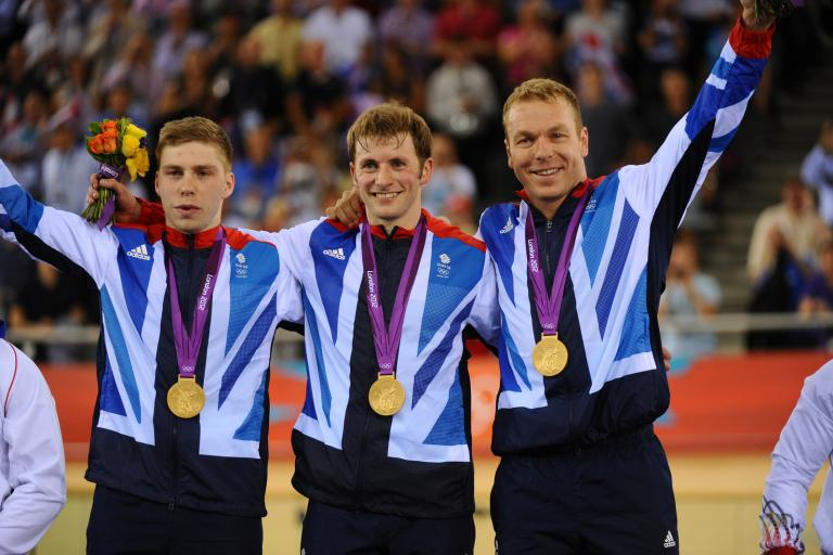 Hindes, Kenny and Hoy on London 2012 podium (copyright Britishcycling.org.uk)