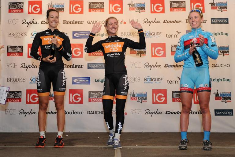 IG London Nocturne Rapha Elite Women's Criterium podium 2013 (picture Dan Rowley:REX)