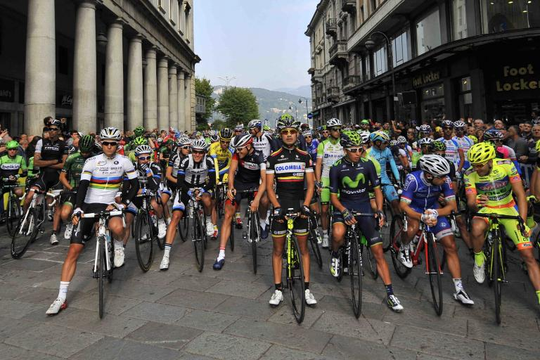 Il Lombardia 2014 start line - picture credit LaPresse