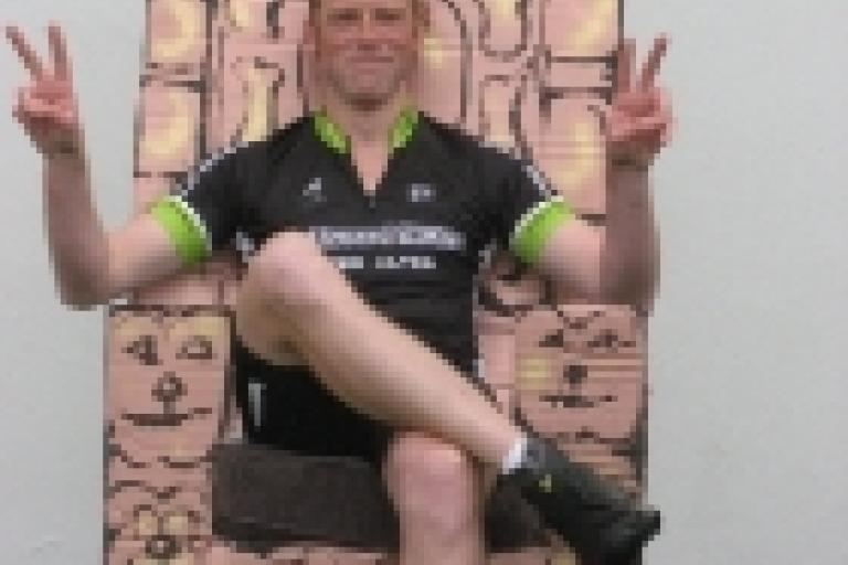 James Davies Wiggo throne (Virgin Money Giving)