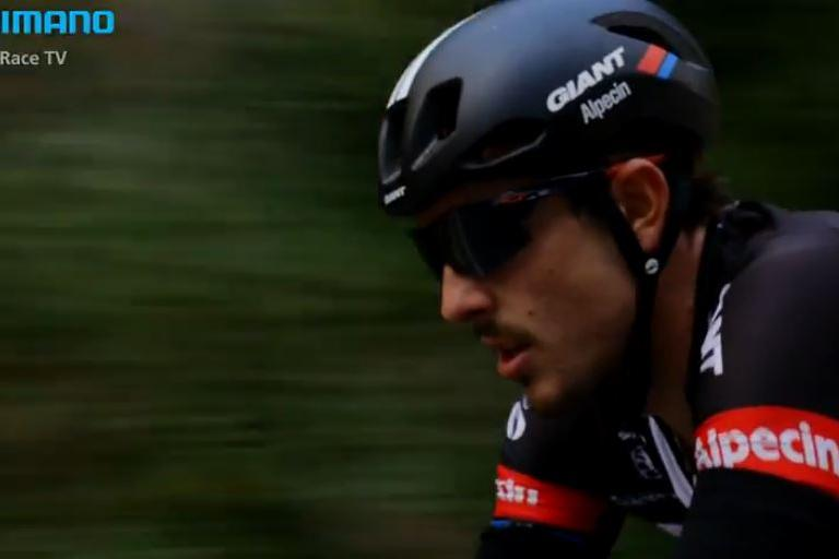 John Degenkolb Milan-San Remo video still (source ShimanoRaceTV YpuTube still)