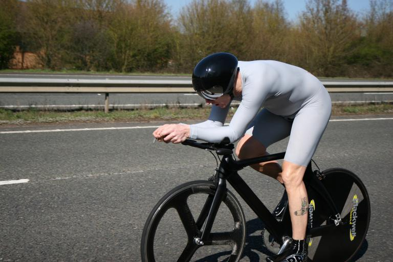 Justyn Cannon winning the AW 10 Time Trial in April 2013 (image CC licensed from Flickr user Biker Jun)