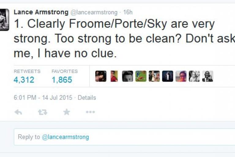 Lance Armstrong Are Team Sky too strong tweet