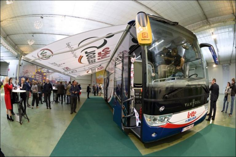 The unveiling of Lotto-Belisol's new team bus (image via www.lottobelisol.be)