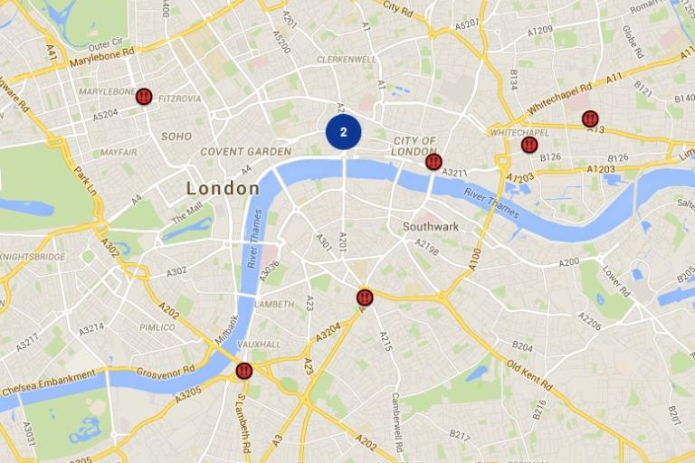 Map of 2014 London cycling fatalities
