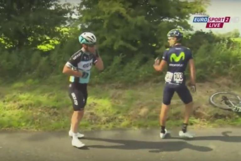 Mark Cavendish and Gorka Izaguirre Tour of Britain 2015 TV still