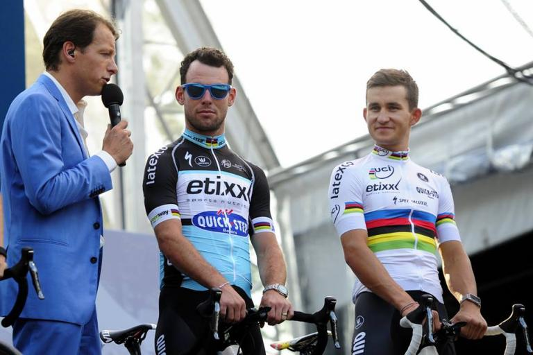 Mark Cavendish and Michal Kwiatkowski at 2015 Tour de France presentation (picture credit Le Tour Utrecht on Facebook)