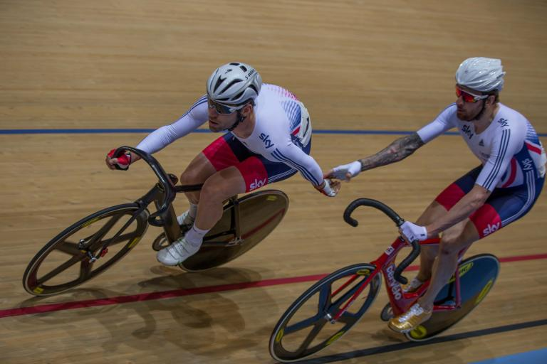 Mark Cavendish and Sir Bradley Wiggins ride the Madison (picture credit Michael Poole)
