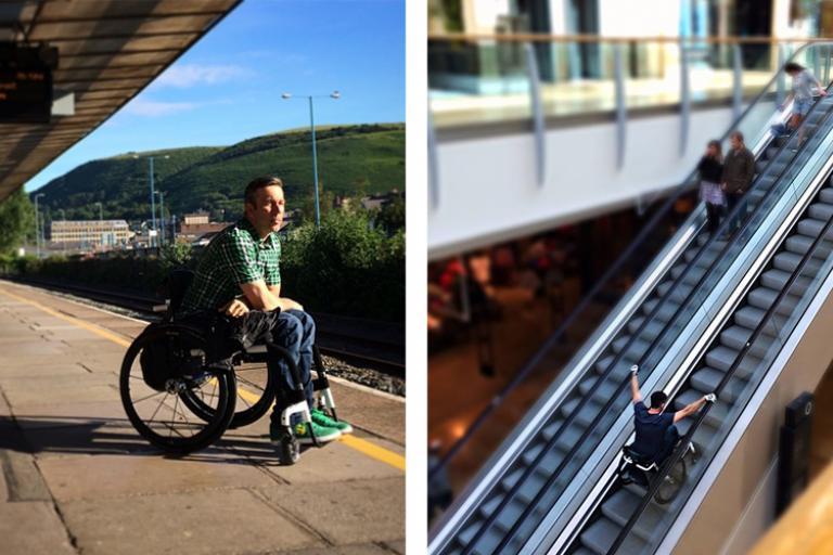 Martyn Ashton train-and-escalator