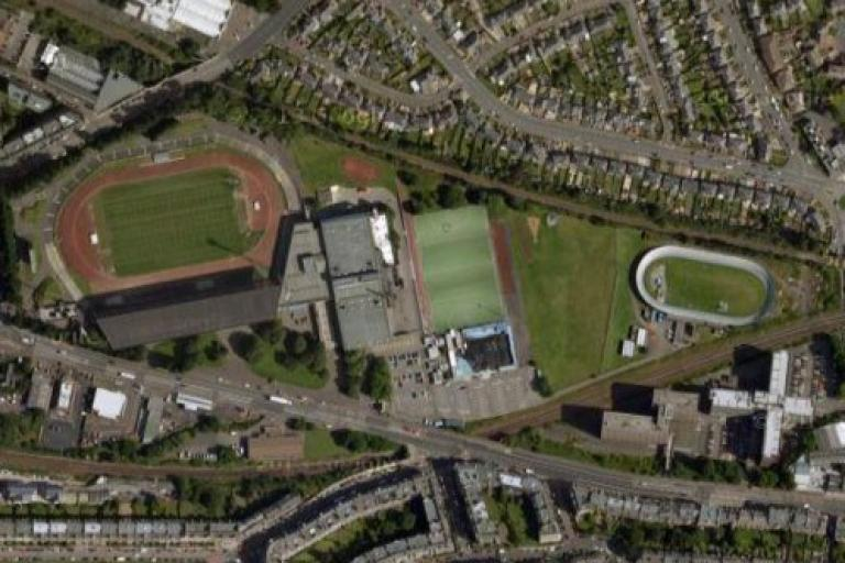 Meadowbank Stadium, velodrome to the right (source- Google Maps)