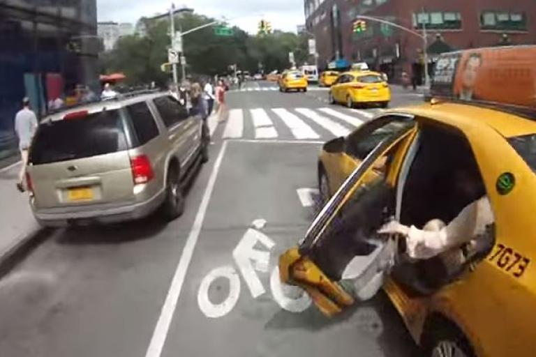 NYC dooring screengrab (source Dan Connor on YouTube)