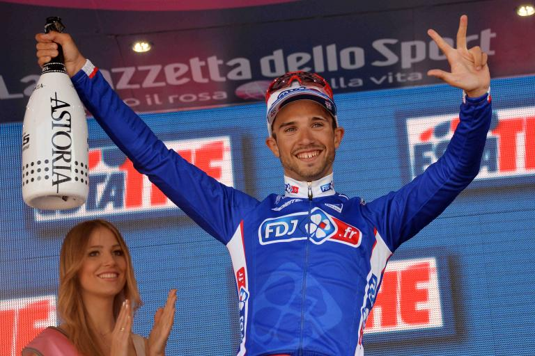 Nacer Bouhanni after winning 2014 Giro Stage 10 - picture credit LaPresse