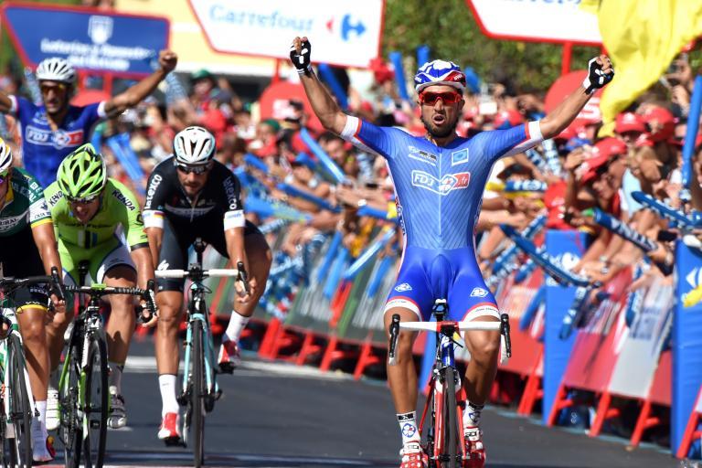 Nacer Bouhanni wins Vuelta 2014 Stage 2 (picture credit Unipublic, Graham Watson)