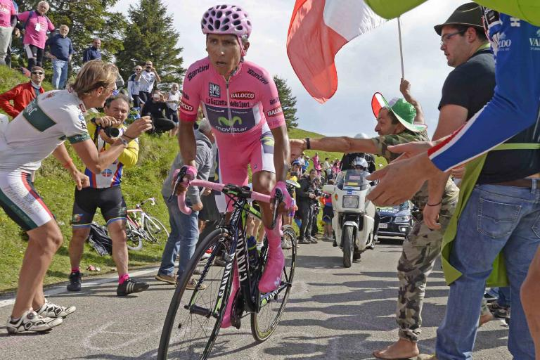 Nairo Quintana on way to winning Giro 2014 Stage 19 - picture credit LaPresse