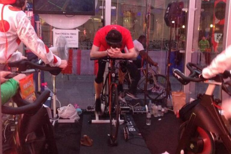 Nick Grimshaw nears end of his Sport Relief ride (picture via Sport Relief on Twitter)