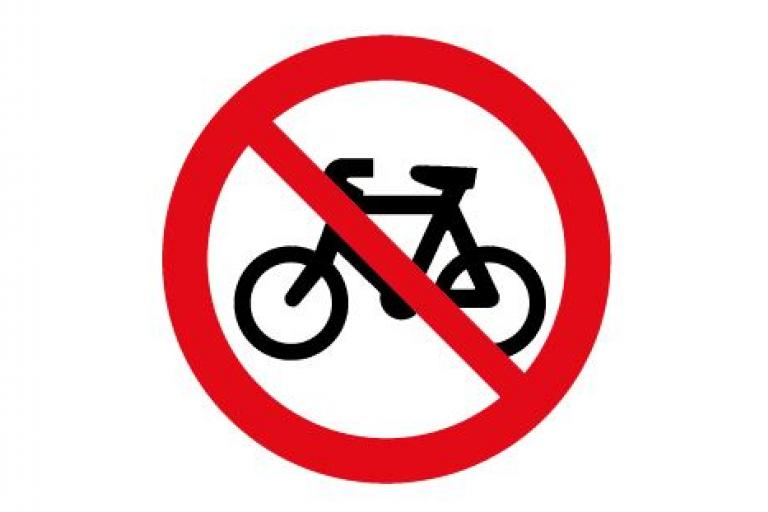 No Cycling sign 3x2
