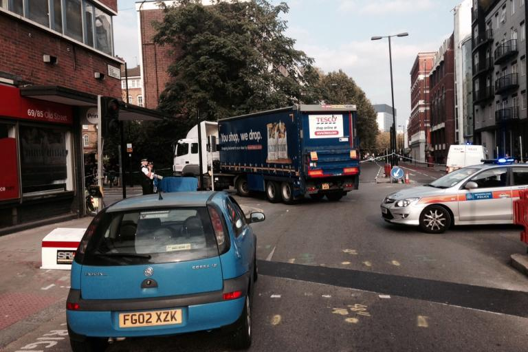 Old Street HGV and cyclist collision (copyright Simon MacMichael)