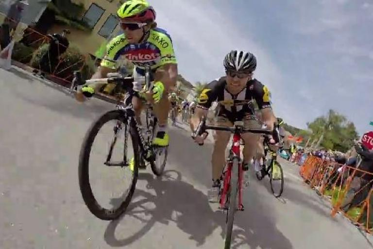Peter Sagan at 2015 Tour of California on-bike video still