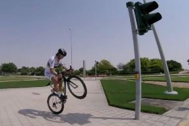 Peter Sagan bunny hoppng in Abu Dhabi