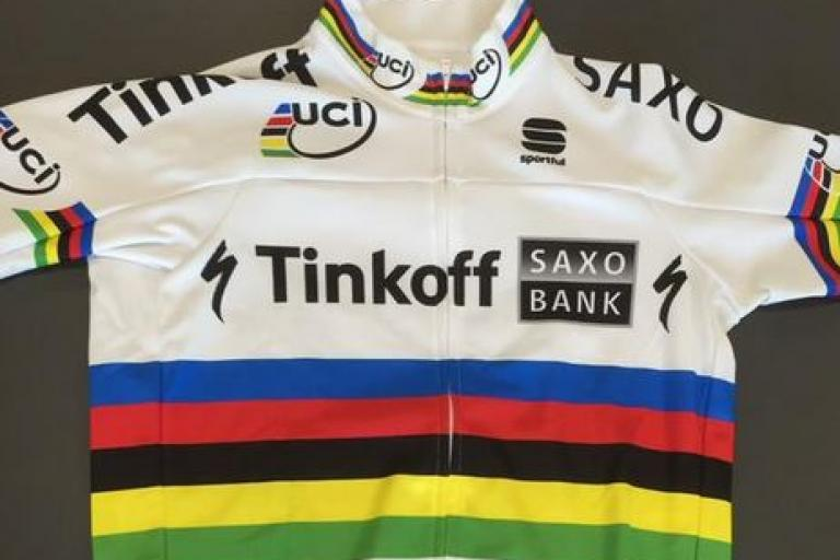 Peter Sagan rainbow jersey 2015-16 (source Tinkoff-Saxo on Twitter)