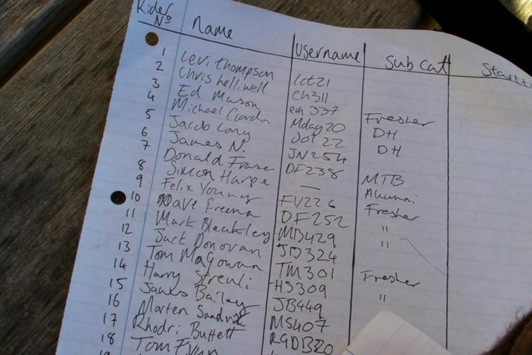 Bath Uni CC hillclimb start sheet