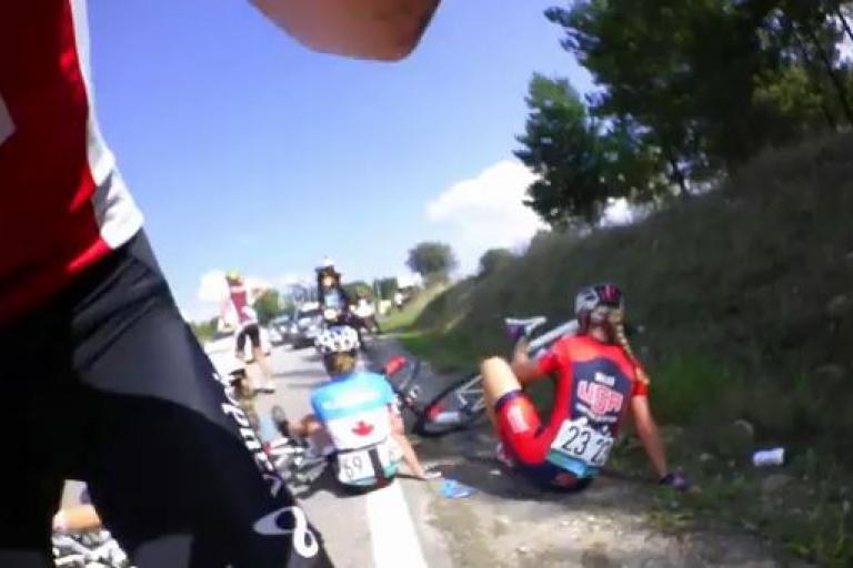 Ponferrada 2014 on-bike footage crash aftermath