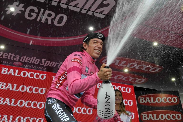 Rigoberto Uran celebrates after winning 2014 Giro Stage 12 - picture credit LaPresse